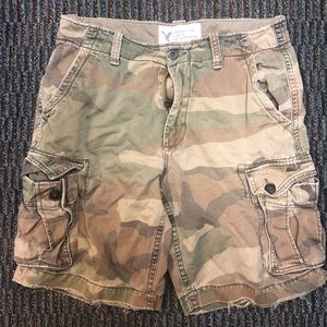 American Eagle Distressed Camo Cargo Shorts